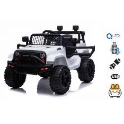 Elektrické autíčko OFFROAD s pohonem zadních kol, bílé, 12V baterie, Vysoký podvozek, široké sedadlo, Odpružené nápravy, 2,4 GHz Dálkový ovladač, MP3 přehrávač se vstupem USB / SD, LED světla