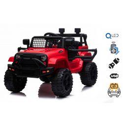 Elektrické autíčko OFFROAD s pohonem zadních kol, červené, 12V baterie, Vysoký podvozek, široké sedadlo, Odpružené nápravy, 2,4 GHz Dálkový ovladač, MP3 přehrávač se vstupem USB / SD, LED světla