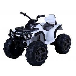 Elektrická čtyřkolka HERO 12V, bílé, měkké kola, 2,4 GHz DÁLKOVÉ OVLÁDÁNÍ, kožená sedanka, odpružené, 12V7Ah baterie