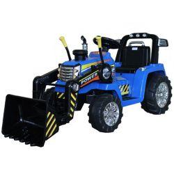 Elektrický Traktor MASTER s naběračkou, modrý, Pohon zadních kol, 12V baterie, Plastové kola, 2 X 35W Motor, široké sedadlo, 2,4 GHz Dálkový ovladač, Jednomístné, MP3 přehrávač se vstupem Aux
