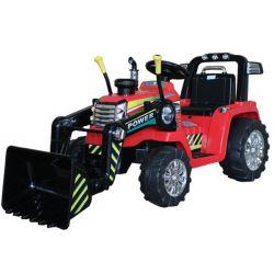 Elektrický Traktor MASTER s naběračkou, červené, Pohon zadních kol, 12V baterie, Plastové kola, 2 X 35W Motor, široké sedadlo, 2,4 GHz Dálkový ovladač, Jednomístné, MP3 přehrávač se vstupem Aux