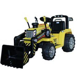 Elektrický Traktor MASTER s naběračkou, žlutý, Pohon zadních kol, 12V baterie, Plastové kola, 2 X 35W Motor, široké sedadlo, 2,4 GHz Dálkový ovladač, Jednomístné, MP3 přehrávač se vstupem Aux