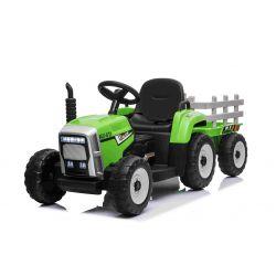 Elektrický Traktor Workers s vlečkou, zelený, Pohon zadních kol, 12V baterie, Plastové kola, široké sedadlo, 2,4 GHz Dálkový ovladač, Jednomístné, MP3 přehrávač se vstupem USB + Bluetooth, LED Světla