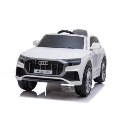 Elektrické autíčko Audi Q8, 12V, 2,4 GHz dálkové ovládání, USB / SD Vstup, LED světla, 12V baterie, měkké EVA kola, 2 X MOTOR, bílé, ORIGINÁL licence