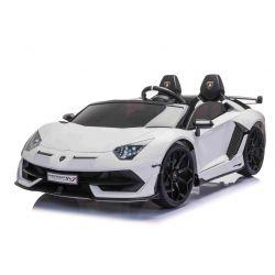 Elektrické autíčko Lamborghini Aventador 12V Dvoumístné, Bílé, 2,4 GHz dálkové ovládání, USB / SD Vstup, odpružení, vertikální otvíravé dveře, měkké EVA kola, 2 X MOTOR, ORIGINAL licence