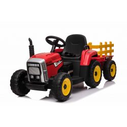 Elektrický Traktor Workers s vlečkou, červený, Pohon zadních kol, 12V baterie, Plastové kola, široké sedadlo, 2,4 GHz Dálkový ovladač, Jednomístné, MP3 přehrávač se vstupem USB + Bluetooth, LED Světla