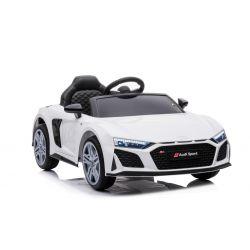 Elektrické autíčko Audi R8 Spyder nový typ, Plastové sedadlo, Plastové kola, USB / SD Vstup, Baterie 12V, 2 X 25W MOTOR, Bílé, ORGINAL licence