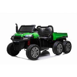 Farmářské elektrické autíčko RIDER 6X6 s pohonem čtyř kol, 2x12V baterie, EVA kola, široké dvoumístné sedadlo, Odpružené nápravy, 2,4 GHz Dálkový ovladač, Dvoumístné, MP3 přehrávač se vstupem USB / SD, Bluetooth