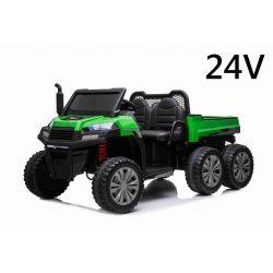 Farmářské elektrické autíčko RIDER 6X6 24V s pohonem čtyř kol 4 X 100W, 24V7Ah baterie, EVA kola, široké dvoumístné sedadlo, Odpružené nápravy, 2,4 GHz Dálkový ovladač, Dvoumístné, MP3 přehrávač se vstupem USB / SD, Bluetooth