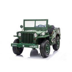 Elektrické autíčko USA ARMY 4X4, Zelené, Třímístné, MP3 Přehrávač se vstupem USB / SD, Odpružené náprvy, LED světla, Sklápěcí čelní sklo, 12V14AH, EVA kola, Čalouněné sedadla, 2,4 GHz Dálkový ovladač, 4 x 4 Pohon