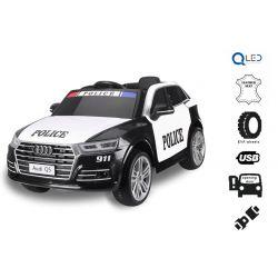 Elektrické autíčko Audi Q5 Policejní, 2,4 GHz DO, 2 X MOTOR, Jednomístné, černé, USB, SD karta, Kožené sedadlo, Eva kola, ORIGINAL licence