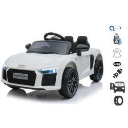 Elektrické autíčko Audi R8 small, 12V, 2,4 GHz dálkové ovládání, USB / SD Vstup, odpružení, 12V baterie, měkké EVA kola, 2 X MOTOR, bílé, ORIGINAL licence