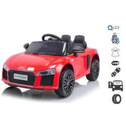 Elektrické autíčko Audi R8 small, 12V, 2,4 GHz dálkové ovládání, USB / SD Vstup, odpružení, 12V baterie, měkké EVA kola, 2 X MOTOR, červené, ORIGINAL licence