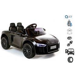 Elektrické autíčko Audi R8 small, 12V, 2,4 GHz dálkové ovládání, USB / SD Vstup, odpružení, 12V baterie, měkké EVA kola, 2 X MOTOR, černá, ORIGINAL licence