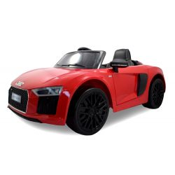 Elektrické autíčko Audi R8 Spyder, 12V, 2,4 GHz dálkové ovládání, otvíravé dveře, EVA kola, kožené sedadlo, 2 X MOTOR,  červené, ORGINAL licence