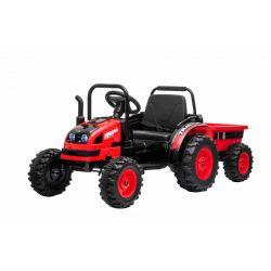 Elektrický Traktor POWER s vlečkou, červený, Pohon zadních kol, 12V baterie, Plastové kola, Odpružení předních kol, široké sedadlo, 2,4 GHz Dálkový ovladač, Jednomístné, MP3 přehrávač, LED Světla