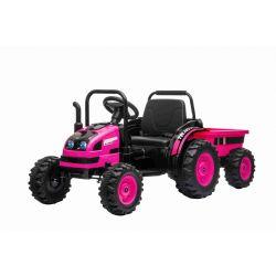 Elektrický Traktor POWER s vlečkou, růžový, Pohon zadních kol, 12V baterie, Plastové kola, Odpružení předních kol, široké sedadlo, 2,4 GHz Dálkový ovladač, Jednomístné, MP3 přehrávač, LED Světla