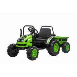 Elektrický Traktor POWER s vlečkou, zelený, Pohon zadních kol, 12V baterie, Plastové kola, Odpružení předních kol, široké sedadlo, 2,4 GHz Dálkový ovladač, Jednomístné, MP3 přehrávač, LED Světla