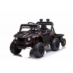 Elektrické autíčko RSX mini s vlečkou, černý, Pohon zadních kol, 12V baterie, Plast kola, široké sedadlo, 2,4 GHz Dálkový ovladač, Jednomístné, MP3 přehrávač se vstupem USB / SD, LED Světla