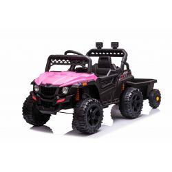 Elektrické autíčko RSX mini s vlečkou, růžové, Pohon zadních kol, 12V baterie, Plast kola, široké sedadlo, 2,4 GHz Dálkový ovladač, Jednomístné, MP3 přehrávač se vstupem USB / SD, LED Světla