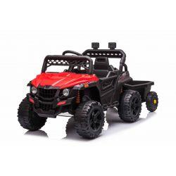 Elektrické autíčko RSX mini s vlečkou, červené, Pohon zadních kol, 12V baterie, Plast kola, široké sedadlo, 2,4 GHz Dálkový ovladač, Jednomístné, MP3 přehrávač se vstupem USB / SD, LED Světla