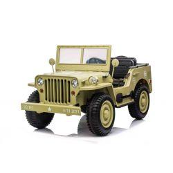 Elektrické autíčko USA ARMY 4X4, žlté, Třímístné, MP3 Přehrávač se vstupem USB / SD, Odpružené náprvy, LED světla, Sklápěcí čelní sklo, 12V14AH, EVA kola, Čalouněné sedadla, 2,4 GHz Dálkový ovladač, 4 x 4 Pohon