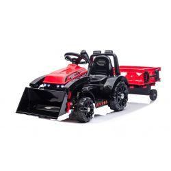 Elektrický Traktor FARMER s naběračkou a vlečkou, červený, zadní pohon, 6V baterie, Plastové kola, široké sedadlo, 20W Motor, Jednomístné, Ovládání na volantu, LED Světla