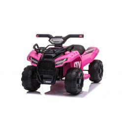 Elektrická čtyřkolka MINI 6V, růžová, MP3 přehrávač se vstupem USB / AUX, 1 X 25W motor, 6V / 4Ah baterie, přední světla