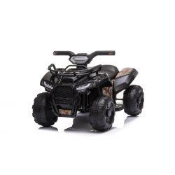 Elektrická čtyřkolka MINI 6V, černá, MP3 přehrávač se vstupem USB / AUX, 1 X 25W motor, 6V / 4Ah baterie, přední světla
