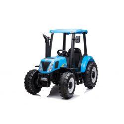 Elektrický traktor NEW HOLLAND-T7 12V, Jednomístné, modré, Koženkové sedadlo, MP3 Přehrávač s USB vstupem, Zadní pohon, 2x 35W Motor, EVA kola, 2,4 GHz Dálkové Ovládání, Originál licence