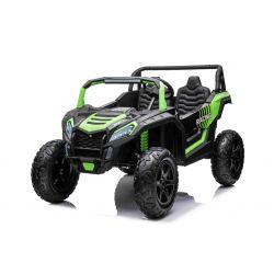 Elektrické autíčko UTV XXL 24V, zelené, dvoumístné, 180 W Motory, Nafukovací gumové kola, odpružené zadní nápravy, kotoučová brzda, čalouněné sedadlo, nastavitelný volant, bluetooth, MP3 přehrávač se vstupem USB / SD