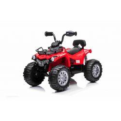 Elektrická čtyřkolka SuperPower 12V, červené, Plastové kola s gumovým pásem, 2 x 45W Motor, plastová sedanka, odpružení, 12V7Ah baterie, MP3 přehrávač