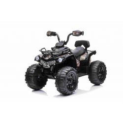 Elektrická čtyřkolka SuperPower 12V, černé, Plastové kola s gumovým pásem, 2 x 45W Motor, plastová sedanka, odpružení, 12V7Ah baterie, MP3 přehrávač