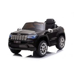 Elektrické autíčko JEEP GRAND CHEROKEE 12V, černé, Koženkové sedadlo, 2,4 GHz dálkové ovládání, USB / AUX Vstup, Odpružení, 12V baterie, Měkké EVA kola, 2 X 35W MOTOR, ORIGINAL licence