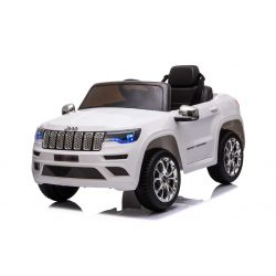 Elektrické autíčko JEEP GRAND CHEROKEE 12V, bílé, Koženkové sedadlo, 2,4 GHz dálkové ovládání, USB / AUX Vstup, Odpružení, 12V baterie, Měkké EVA kola, 2 X 35W MOTOR, ORIGINAL licence