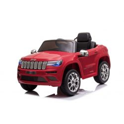 Elektrické autíčko JEEP GRAND CHEROKEE 12V, červené, Koženkové sedadlo, 2,4 GHz dálkové ovládání, USB / AUX Vstup, Odpružení, 12V baterie, Měkké EVA kola, 2 X 35W MOTOR, ORIGINAL licence