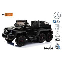 Elektrické autíčko Mercedes-Benz G63 6X6, černé Lakované, LCD obrazovka, 6 Kol, Podsvícené kola, Pohon 4x4, 12V14AH, přesností baterie, Gumené kola, Čalouněné sedadlo, 2,4 GHz Dálkový ovládač, 4 X Motor, Dvoumístné, Dvě pedálové tlačítka
