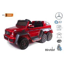 Elektrické autíčko Mercedes-Benz G63 6X6, červená Lakované, LCD obrazovka, 6 Kol, Podsvícené kola, Pohon 4x4, 12V14AH, přesností baterie, EVA kola, Čalouněné sedadlo, 2,4 GHz Dálkový ovládač, 4 X Motor, Dvoumístné, Posilovač řízení, Dvě pedálové tlačítka
