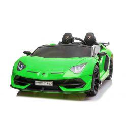 Elektrické autíčko Lamborghini Aventador 24V Dvoumístné, Zelené lakované, 2,4 GHz DO, Měkké PU Sedadla, LCD Displej, odpružení, vertikální otvíravé dveře, měkké EVA kola, 2 X 45W MOTOR, ORIGINAL licence