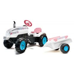 FALK Šlapací traktor 2042AB Butterfly Farmer s vlečkou a otevírací kapotou