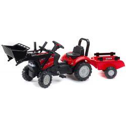 FALK Šlapací traktor 961AM Case s nakladačem a vlečkou