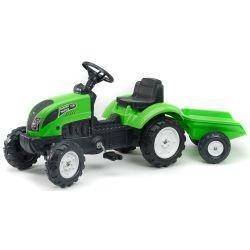 AKCE - FALK Šlapací traktor 2057J Garden master zelený s vlečkou