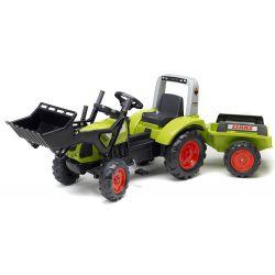 FALK Šlapací traktor 1040 Clas Arion 430 s nakladačem a vlečkou
