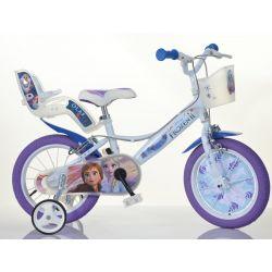 """DINO Bikes - Dětské kolo 14 """"144RF3 se sedačkou pro panenku a košíkem Frozen 2"""
