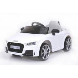 Elektrické autíčko Audi TT RS, 12V, 2,4 GHz dálkové ovládání, otvíravé dveře, EVA kola, kožené sedadlo, 2 X MOTOR, bílé, ORGINAL licence