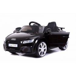 Elektrické autíčko Audi TT RS, 12V, 2,4 GHz dálkové ovládání, otvíravé dveře, EVA kola, kožené sedadlo, 2 X MOTOR, černé, ORGINAL licence
