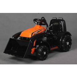 Elektrický Traktor FARMER s naběračkou, oranžový, zadní pohon, 6V baterie, Plastové kola, široké sedadlo, 20W Motor, Jednomístné, Ovládání na volantu, LED Světla
