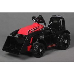 Elektrický Traktor FARMER s naběračkou, červený, zadní pohon, 6V baterie, Plastové kola, široké sedadlo, 20W Motor, Jednomístné, Ovládání na volantu, LED Světla