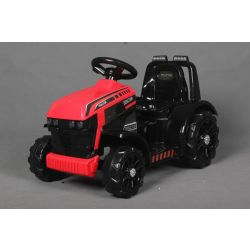 Elektrický Traktor FARMER, červený, zadní pohon, 6V baterie, Plastové kola, široké sedadlo, 20W Motor, Jednomístné, Ovládání na volantu, LED Světla