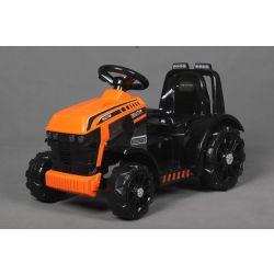 Elektrický Traktor FARMER, oranžový, zadní pohon, 6V baterie, Plastové kola, široké sedadlo, 20W Motor, Jednomístné, Ovládání na volantu, LED Světla